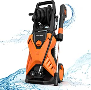 [Upgraded] Paxcess Electric Pressure Washer, 3000PSI 2.5GPM Power Washer with Hose Reel, Adjustable Nozzle and Foam Cannon for Car, Driveway, Patio,Outdoors Use(Orange)