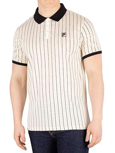 Fila Vintage BB1 Classic Stripe Polo Shirt | Ecru at Amazon ...