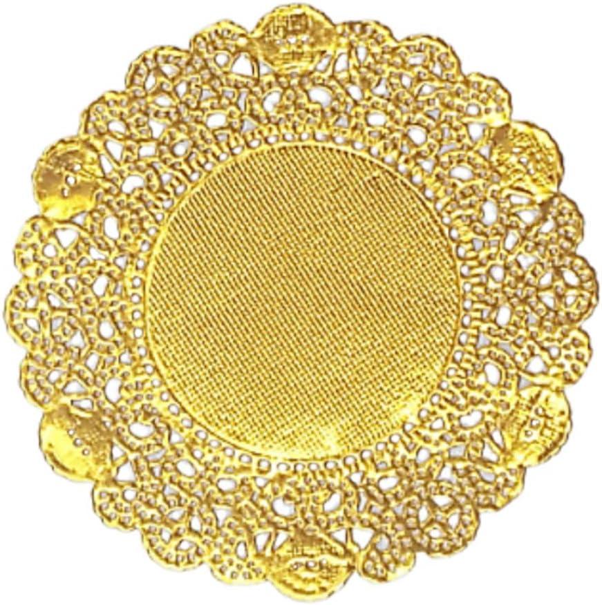 Doilykorea- 250 pcs Premium 3.5 inch Foil Round Lace paper doilies-Non-Dust, Clean Cut, Simple design : Party/Gift/Pad for Cake Crafts/Home Decoration Weddings Table settings Placemats [3.5