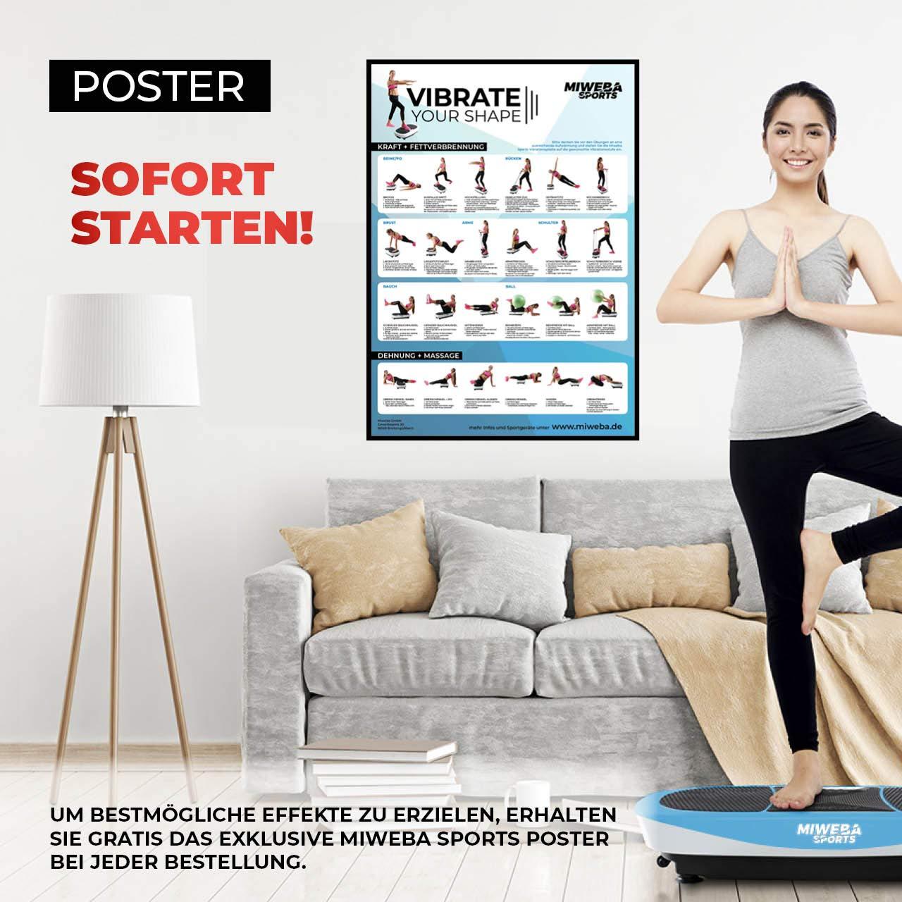 Vertikal 400 Watt Oszillierend Miweba Sports Fitness 3D Vibrationsplatte MV200-3 Vibrationsmodi Horizontal