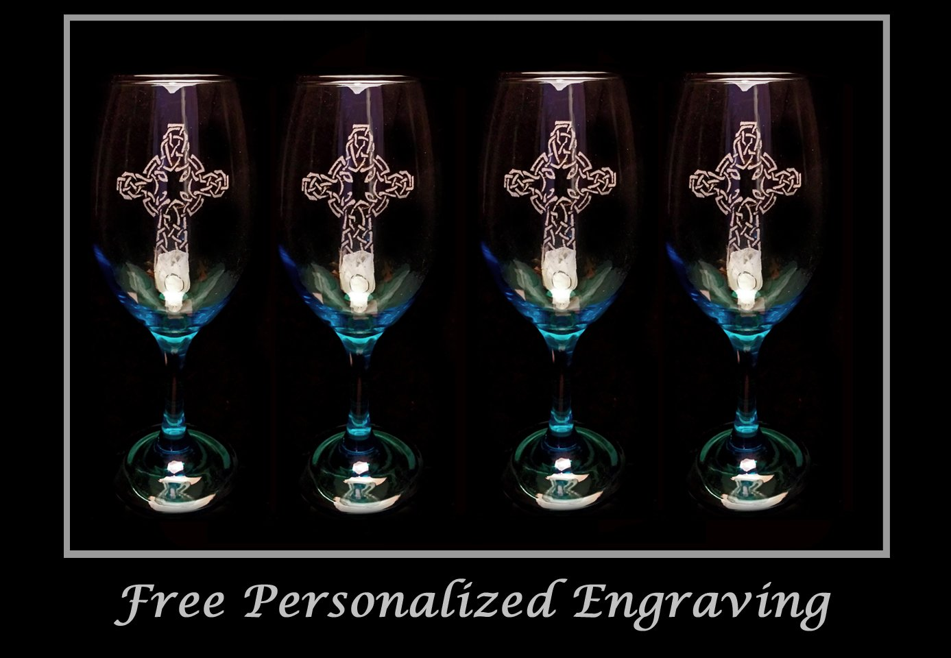 Celtic Cross Teal Wine Glass Set of 4 - Free Personalized Engraving- Christian Decor- cobalt wine glass - dark blue wine glass: by LyonCraft