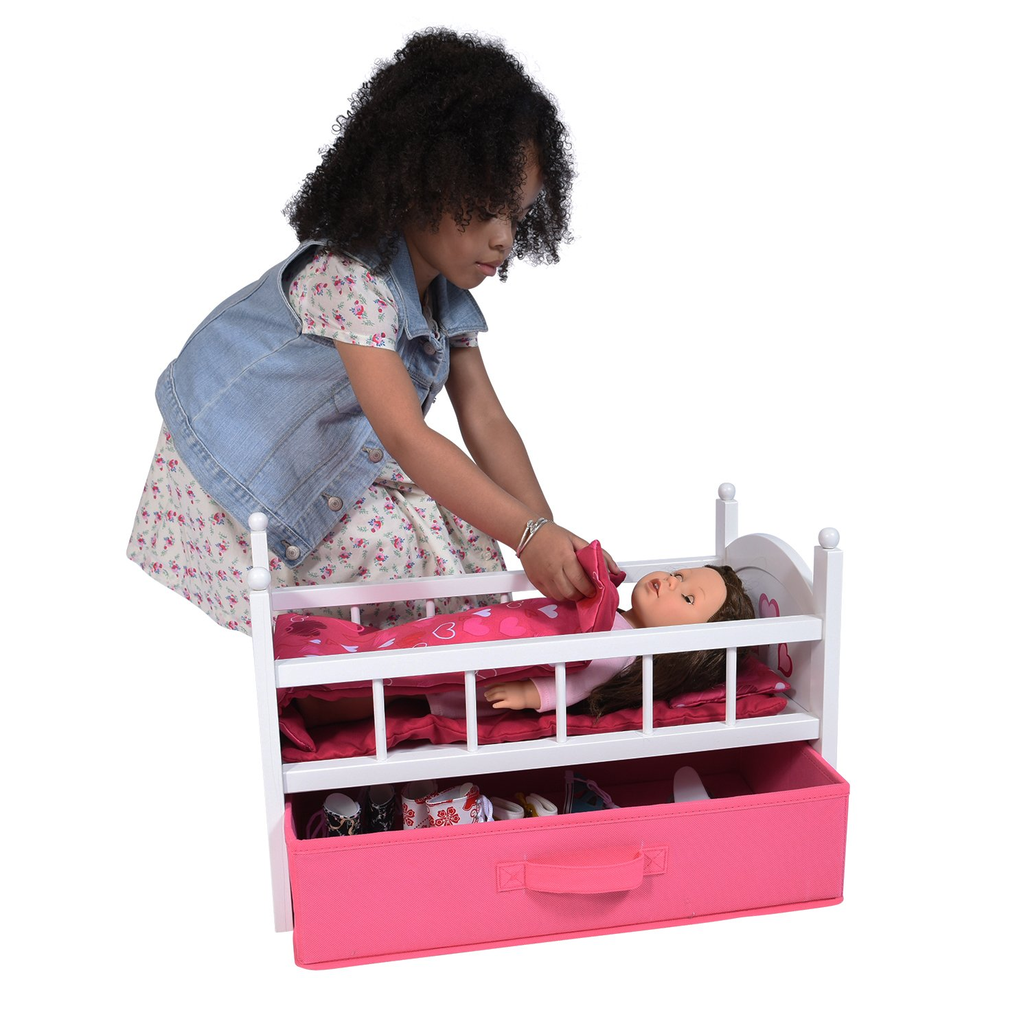 Amazon.com: The New York Doll Collection Wooden Dolls Crib with ...