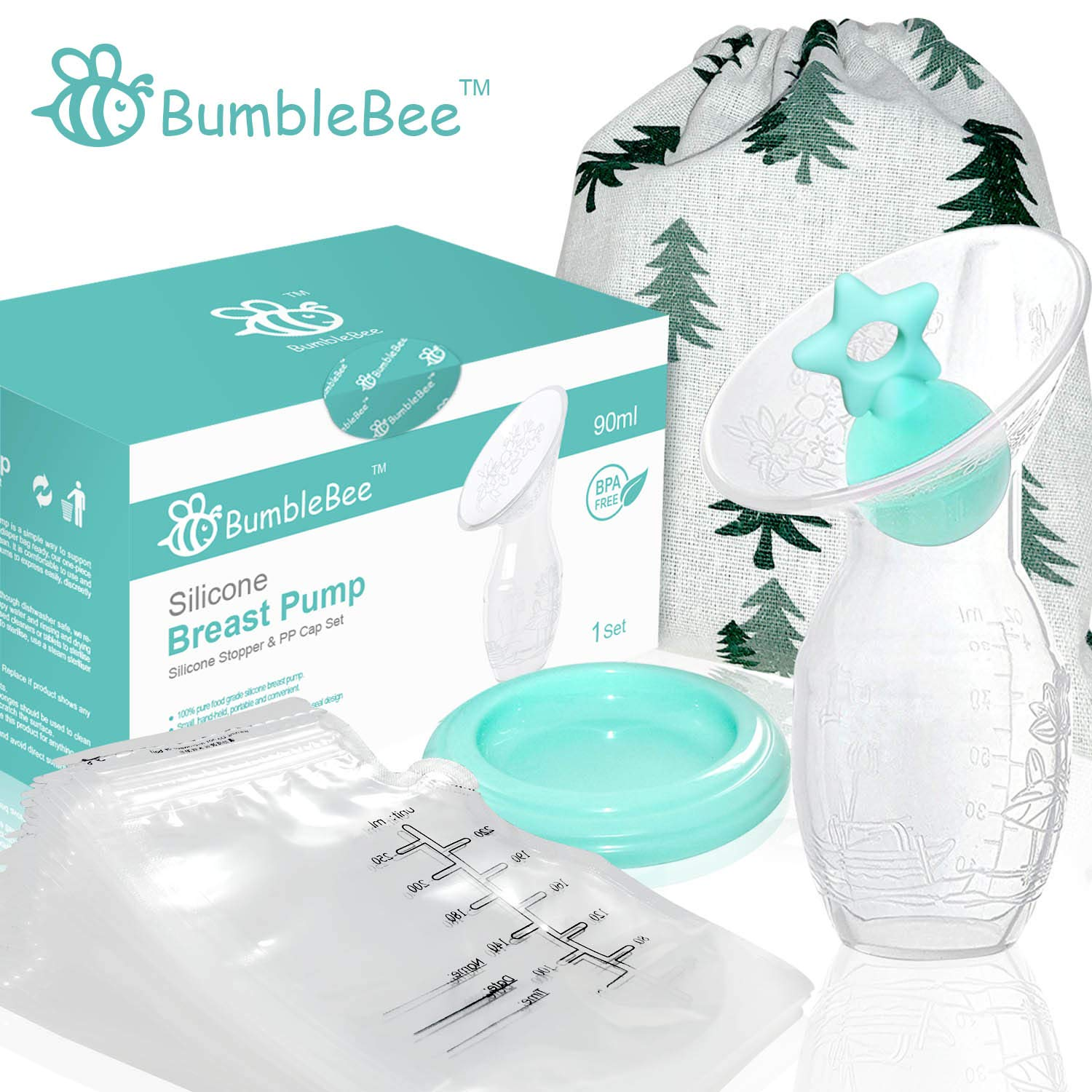 Bumblebee Manual Breast Pump with 30PCS Milk Storage Bags Breastfeeding Collection Milk Pump with Star Shape Silicone Stopper with lid in Gift Box Bpa Free &Food Grade Silicone Breast Pump by Bumblebee