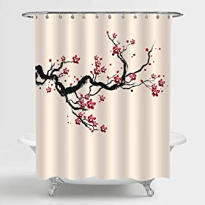MitoVilla Japanese Cherry Blossom Shower Curtain for Women and Girls, Classic Asian Watercolor Spring Cherry Tree Branches and Blooming Sakura Flowers Bathroom Decor, Red Black Beige, 72
