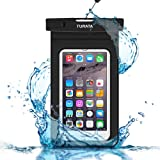 Waterproof Phone Case -TURATA® Dry Bag with Armband for iPhone 6, 6 plus, 6s, 6s plus, 5, 5s, Samsung Galaxy s7,s7 edge[Up to 6.0''] Eco-Friendly PVC construction Pouch & IPX8 Certified to 100 Feet (Black)