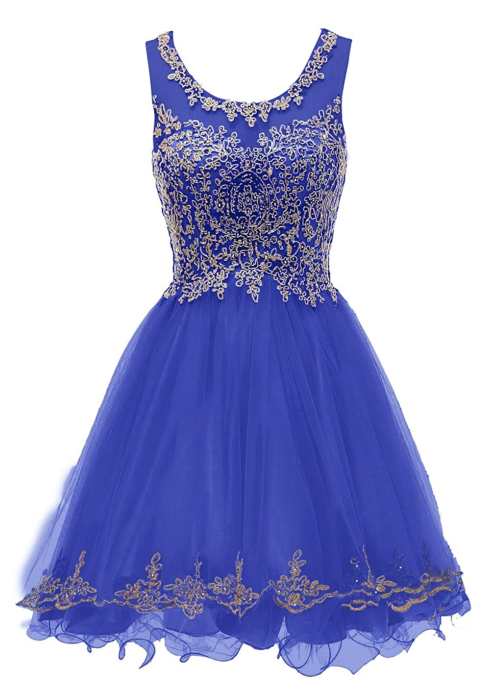 Royal bluee1189 SHANGSHANGXI Lace Appliques Short Prom Dresses Tulle Beaded Homecoming Party Dress