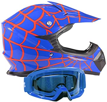 Kids Youth Offroad Gear Combo Helmet & Goggles DOT Motocross ATV Dirt Bike - Blue Spiderman
