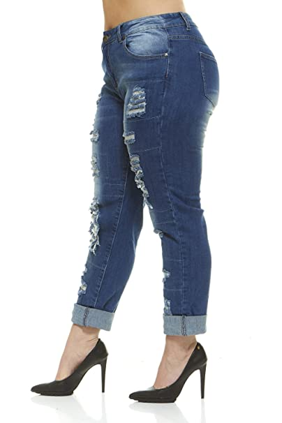 c347573d1d273 Plus Size Jeans for Women Distressed Repaired Patched Skinny Ripped Jeans