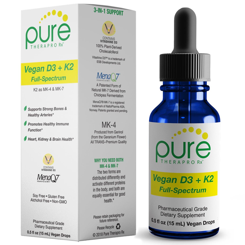 Vegan D3 + K2 ''Full Spectrum'' Drops for Best Absorption   5 Drops Contain: 5,000iu vit D3 ''Vitashine''; 500mcg vit K2 (MK4) & 180mcg vit K2 (MK7) ''MenaQ7''   Soy-Free, GF, Non-GMO, Tasteless & Odorless