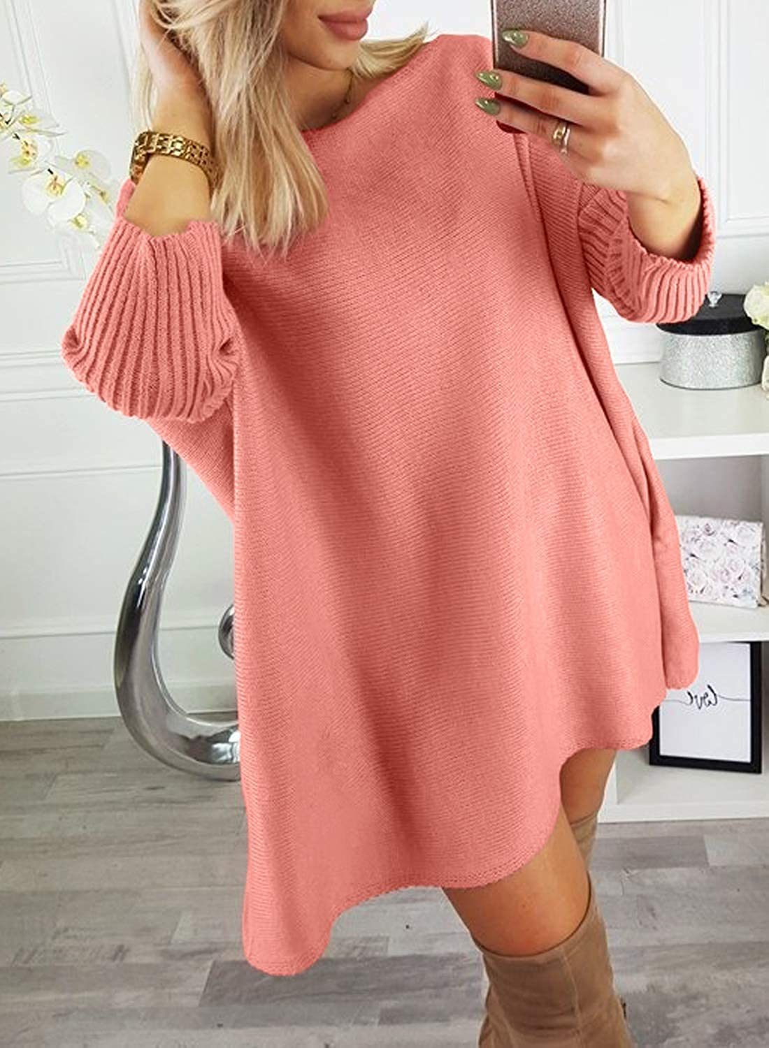 Dearlovers Womens Oversized Loose Casual Long Pullover Sweaters Dress Jumper