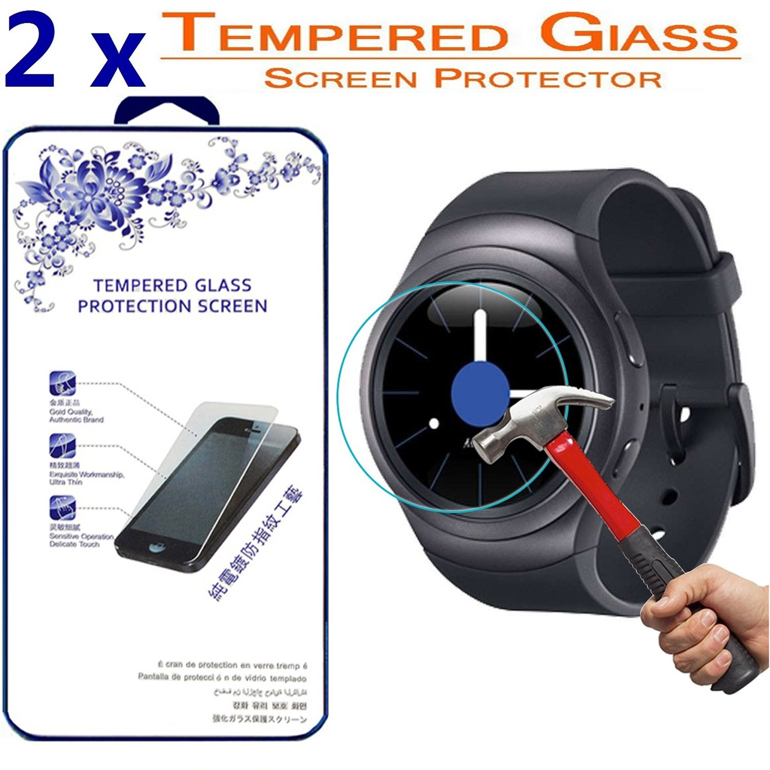 2X Glass Screen Protector for Samsung Galaxy Gear S2 Watch, [2 Pack] Ballistic Tempered Glass Screen Protector ([2 Pack] for Samsung Galaxy Gear S2)
