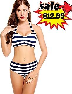 532266a48779d Avidlove Women Stripped Swimsuits High Waisted Swimswear Push up Bikini Set