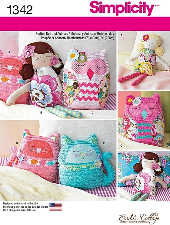 Simplicity Sewing Pattern 1342 muñecos de peluche de 17 pulgadas y 9 Pulgadas de animales