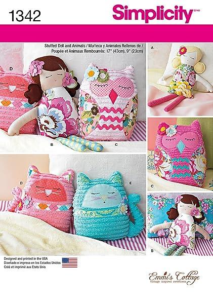 Amazon.com: Simplicity Creative Patterns 1342 17-Inch Stuffed Dolls ...