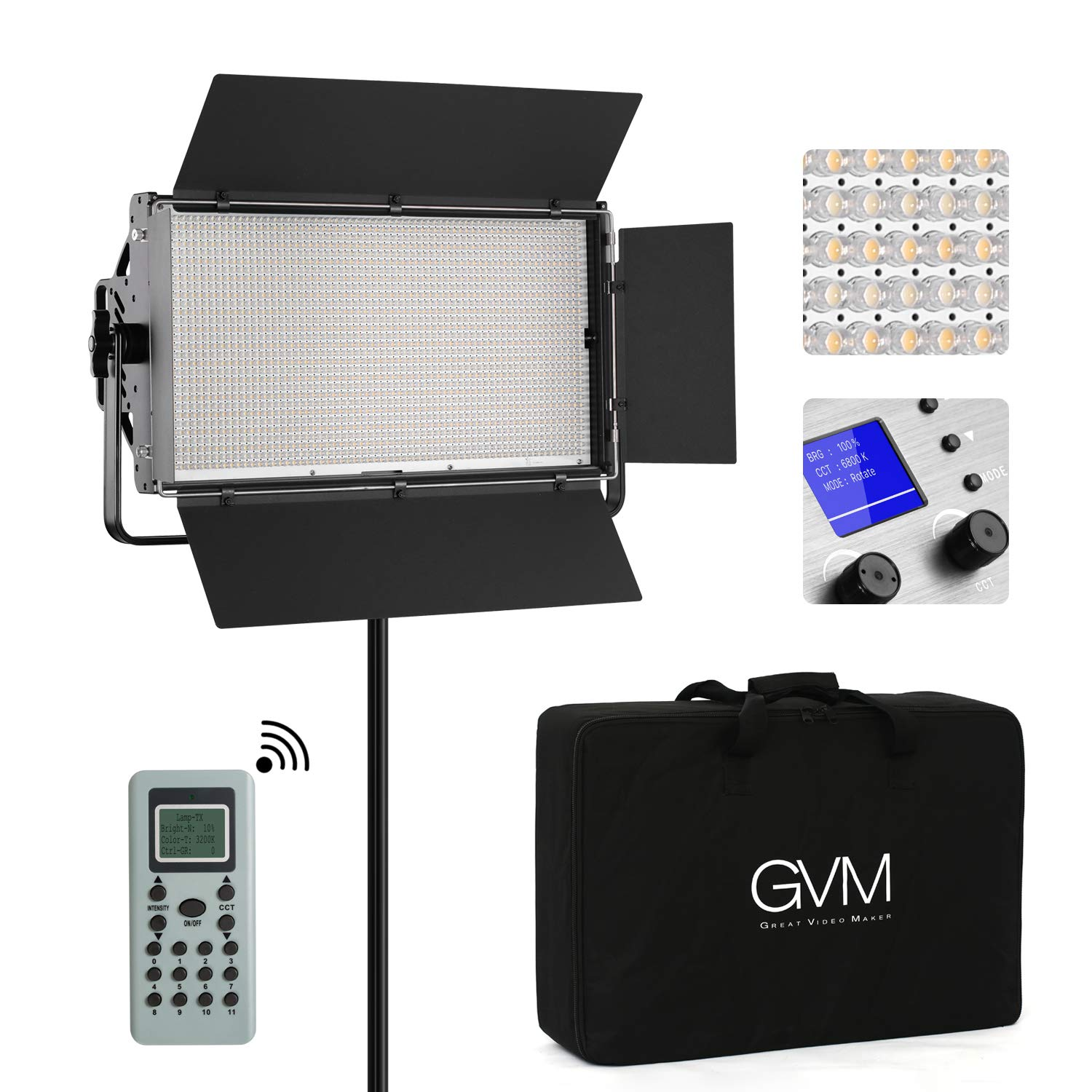 GVM Professional LED Video Light 110W Bi-Color 3200K-5600K Dimmable 1920 LED Panel Light for Photography Studio YouTube Video, CRI97+ TLCI97+ Remote Control, Barn-Door,Carry Bag by GVM Great Video Maker