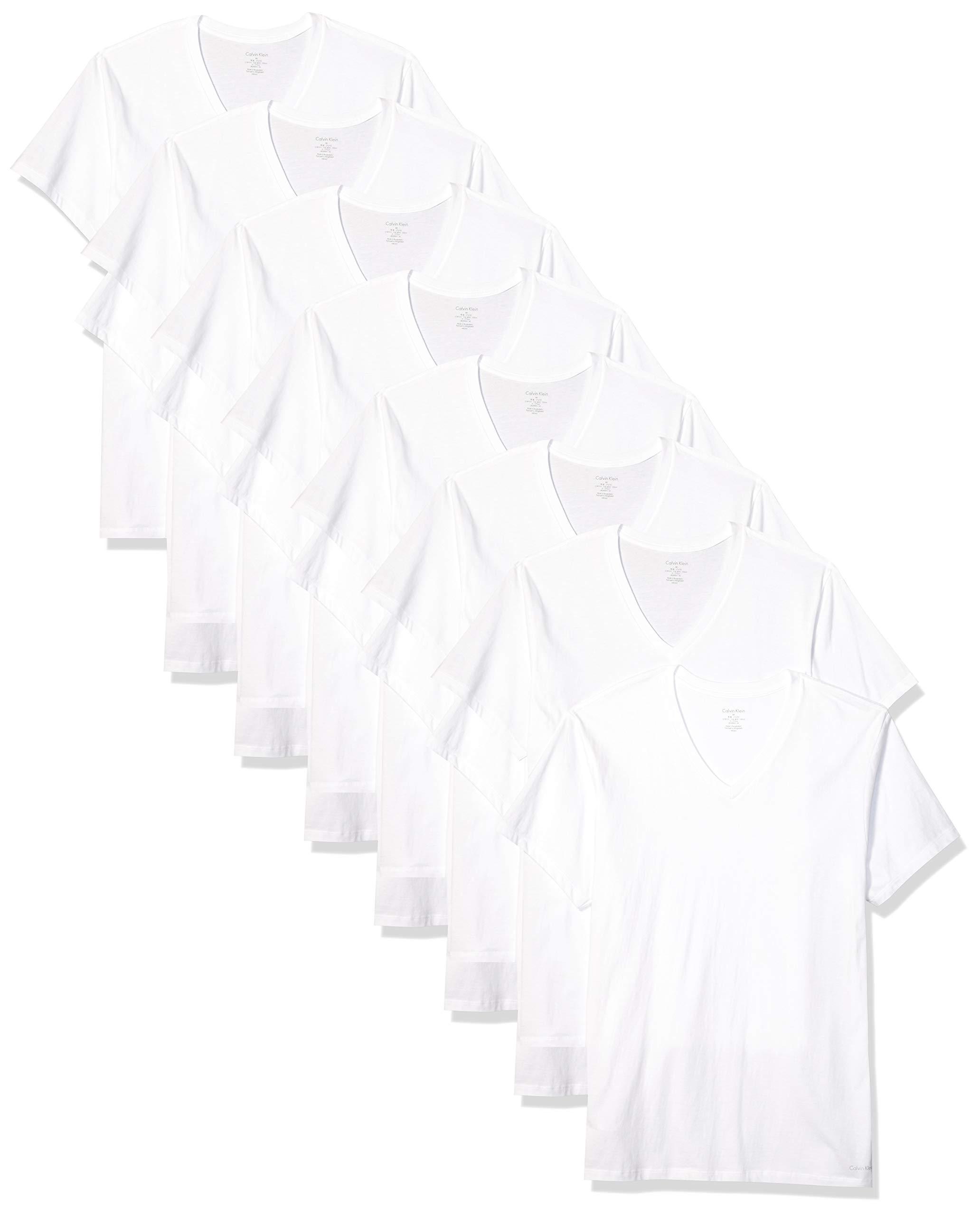 Calvin Klein Men's Cotton Classics Multipack V Neck T-Shirts, White, L