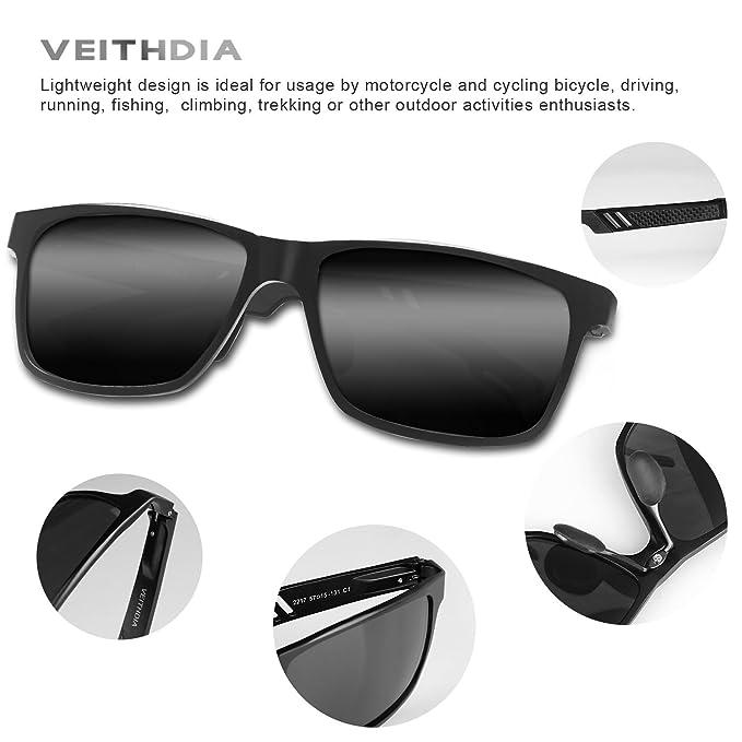 8c5aaf4804 Amazon.com  VEITHDIA 6560 Fashion Mirrored UV400 Polarized Driving  Sunglasses for Men Women (Black