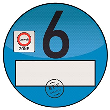 1x Haftfolie Euro 6 Plakette Blau Von Finest Folia Feinstaub Umweltzone Aufkleber Spassplakette
