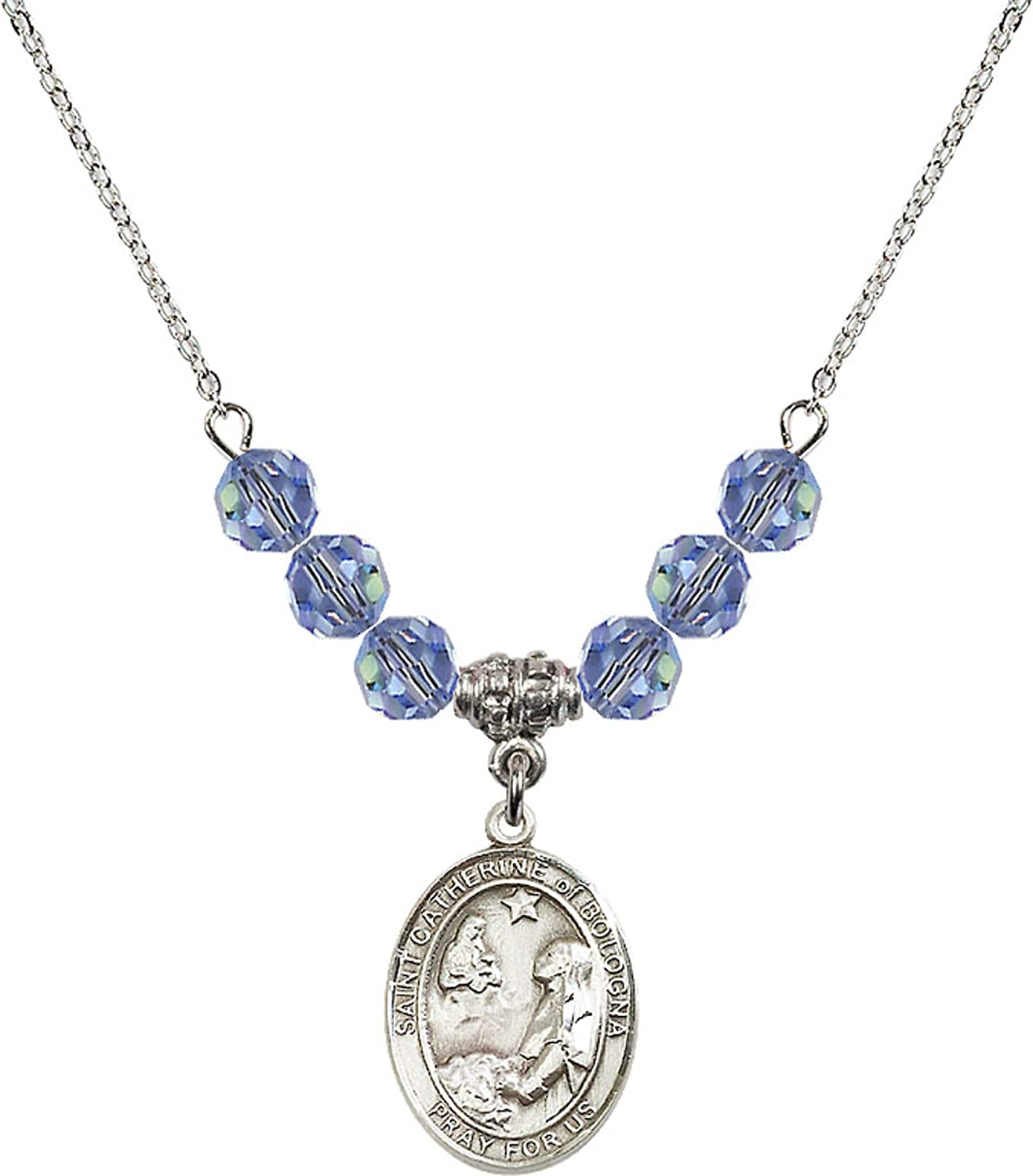 Bonyak Jewelry 18 Inch Rhodium Plated Necklace w// 6mm Light Blue September Birth Month Stone Beads and Saint Catherine of Bologna Charm
