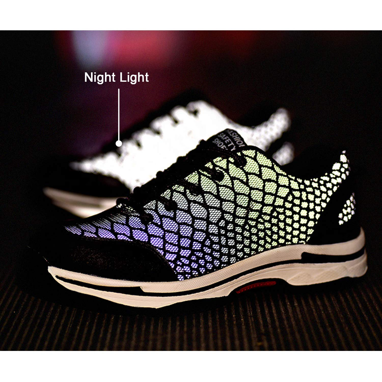 XiXiHao Mens Safety Shoes Night Reflect Light Women Men Work Shoes with Steel Toe Sporty Lightweight Protective Shoes