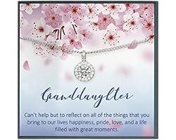 Granddaughter Necklace Gifts for Granddaughter Gifts from Grandma, Granddaughter Birthday Gifts from Grandparents to Granddau