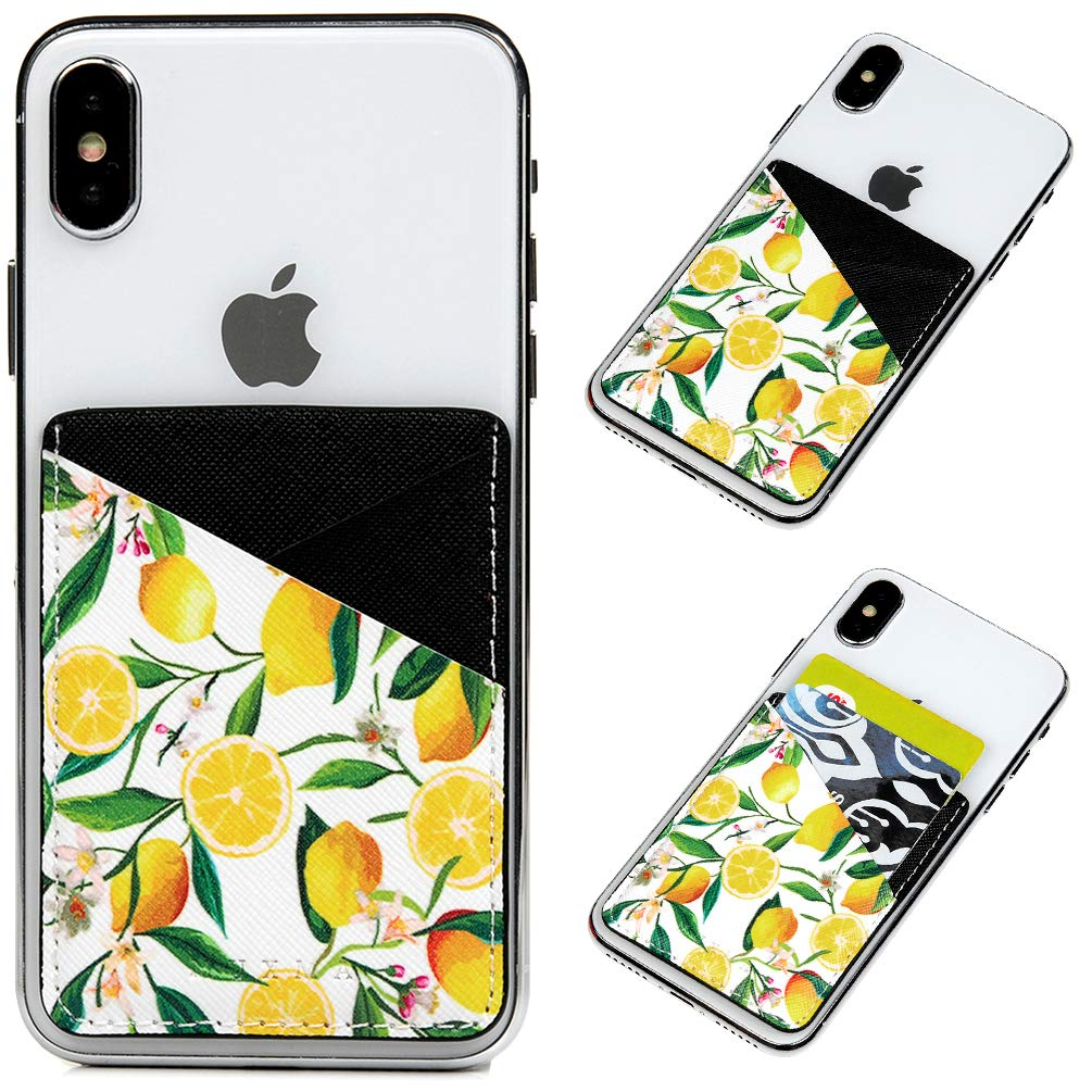 Cell Phone Card Holder, Stick on Wallet for Back of Phone, 3M Adhesive Ultra Slim Phone Pocket ID Credit Cards Holder Sleeves Pouch Stick-On Card Holder Universally fits Most Cell Phones - Lemons