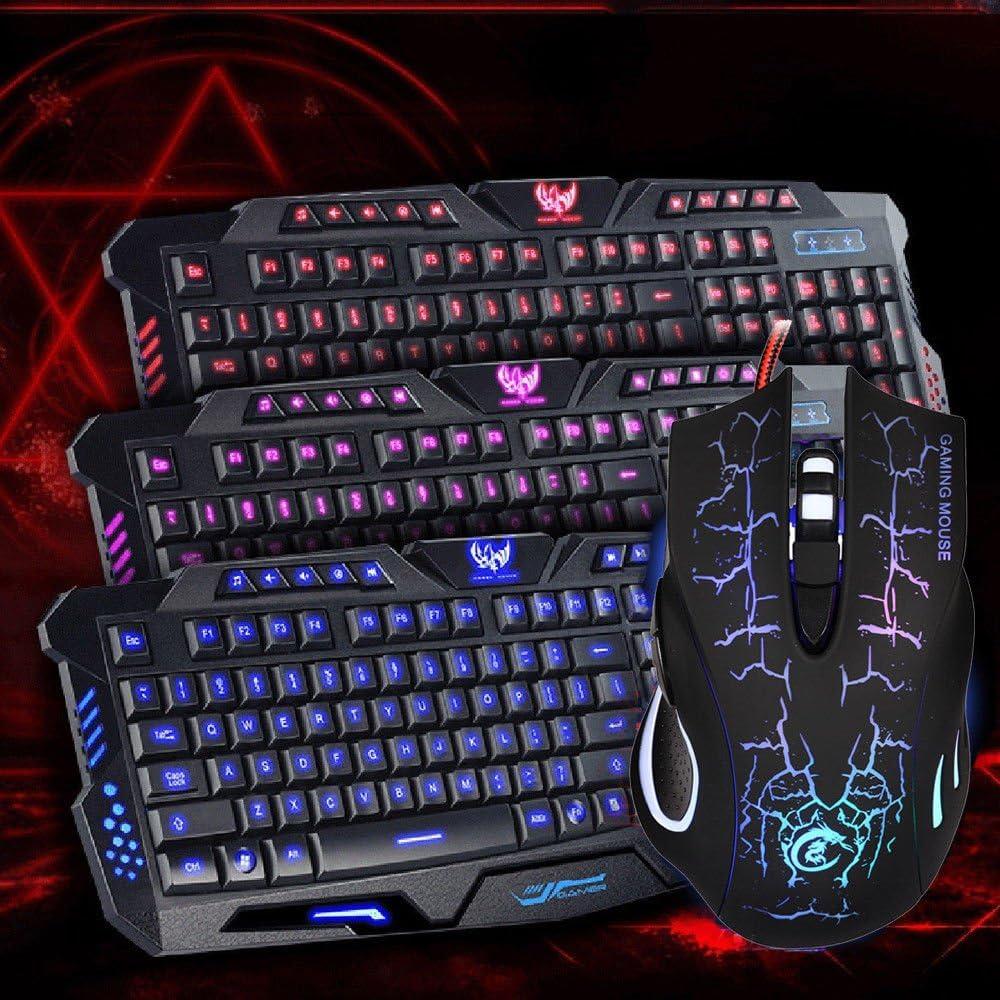 Black ARB MARKET Set 3 Colors Led Backlit USB Wired Gaming Keyboard Multimedia And Mouse Combo Set Us Easy Adjustable For Computer