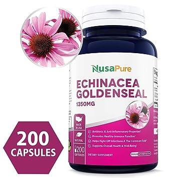 Best Echinacea Goldenseal 1350mg 200caps (Non-GMO & Gluten Free) Supports Healthy Immune