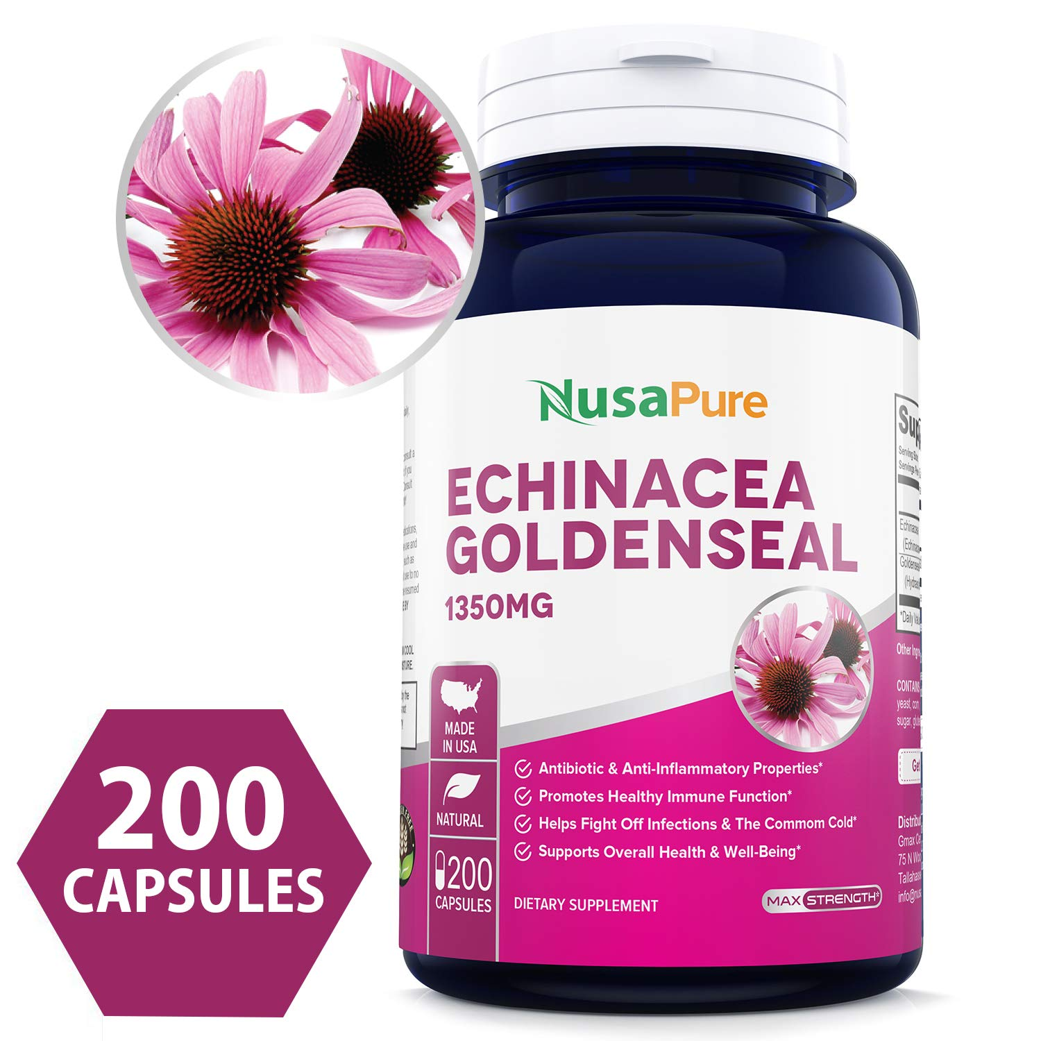 Echinacea Goldenseal 1350mg 200caps (Non-GMO & Gluten Free) Supports Healthy Immune Function and Overall Well-Being