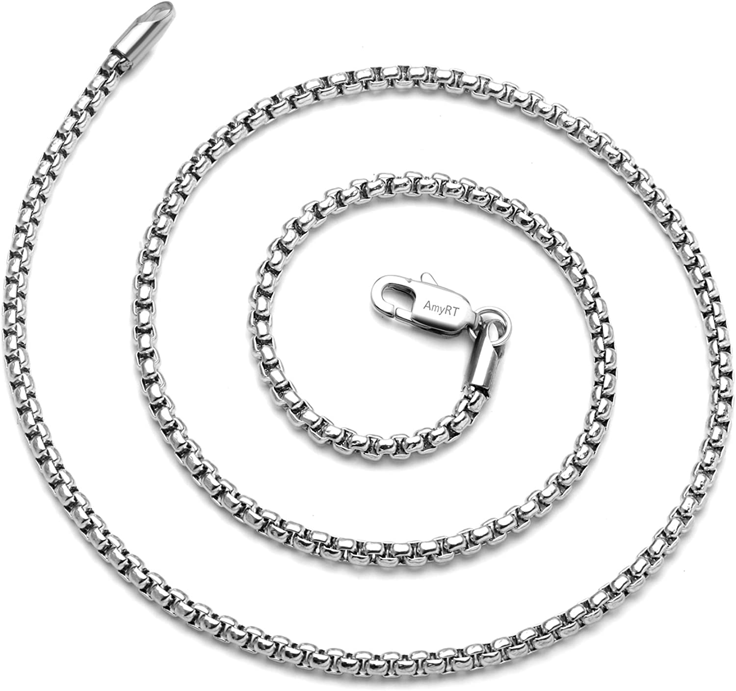 """AmyRT Jewelry 3mm Titanium Steel Rolo Silver Chain Necklaces for Women Men 16"""" - 30"""""""
