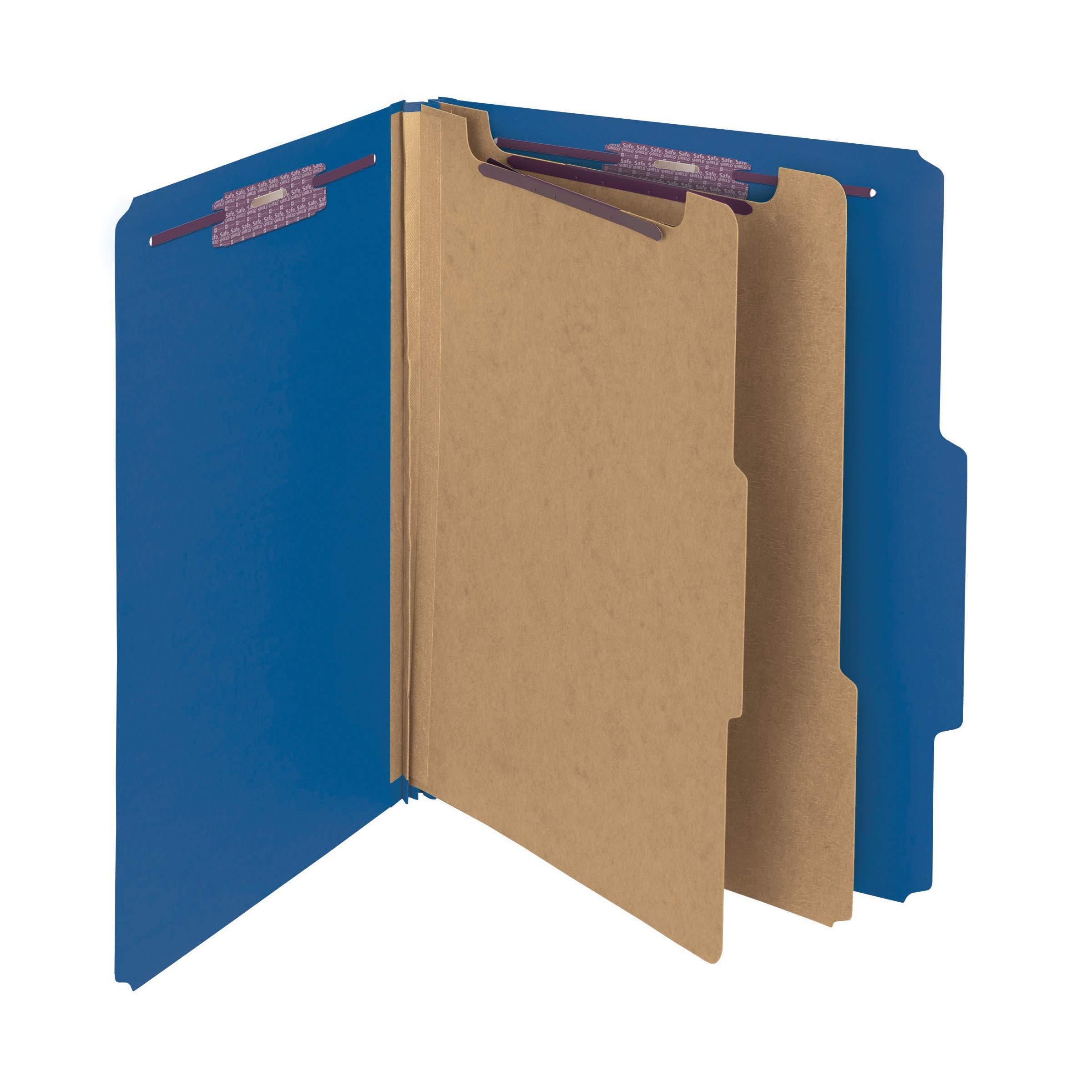 Smead Pressboard Classification File Folder with SafeSHIELD Fasteners, 2 Dividers, 2'' Expansion, Letter Size, Dark Blue, 10 per Box (14032)
