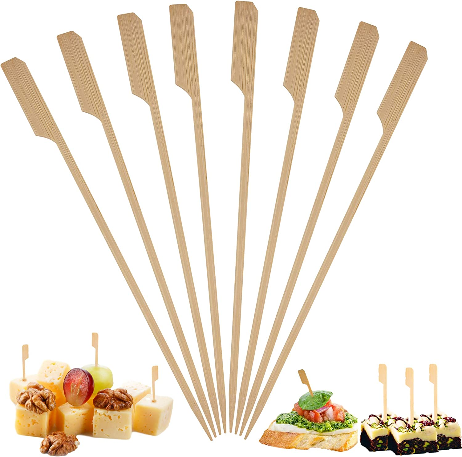 Bamboo Skewers Toothpicks for Appetizer Picks – (500 Pack / 3.5 Inch) Eco Friendly Wooden Cocktail Skewers and Bamboo Toothpicks for Appetizers Food Garnish Sandwich Fruit Kabobs Drinks Cocktail