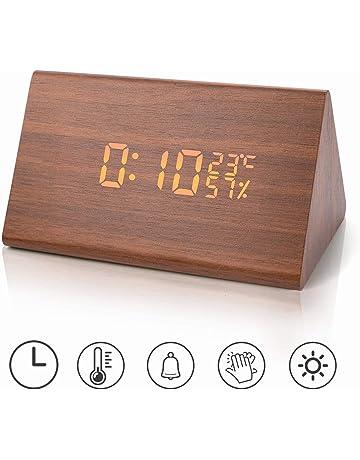 791a94eeb07d Reloj despertador Reloj digital de madera Triángulo LED Reloj de escritorio  de alarma de madera con