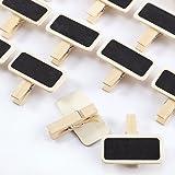 50x Pince à linge 3,5x1cm clip en bois avec mini tableau noir inscriptible effaçable 4x2cm