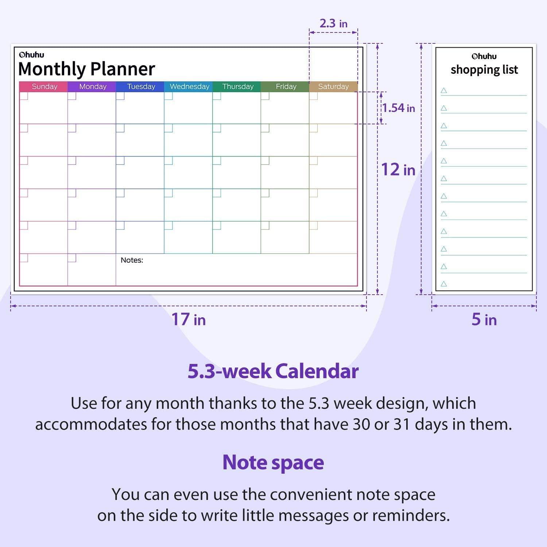 2020 Magnetische Kalender Ohuhu 3 Set K/ühlschrankplanungskalender 43x30cm Monatsplaner und w/öchentlicher Organisator,13x30cm t/ägliche Erinnerung mit 6 Markern und einem Radiergummi