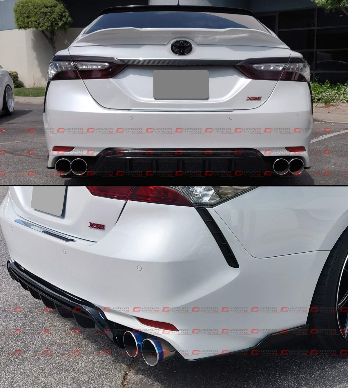 Fits for 2018-2019 Toyota Camry SE XSE Glossy Black GT Style Shark Fin Rear Bumper Diffuser Side Corner Apron Spat Valance