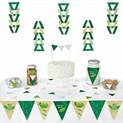Big Dot of Happiness Double The Fun - Twins Two Peas in a Pod - Triangle Baby Shower or First Birthday Party Decoration Kit - 72 Piece