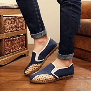 YOPAIYA Chaussures De Pêcheur Pantoufles en Lin De Coton Bleu Glissées sur des Dames Plates Plates Coulissantes en Chanvre Cousent des Sandales