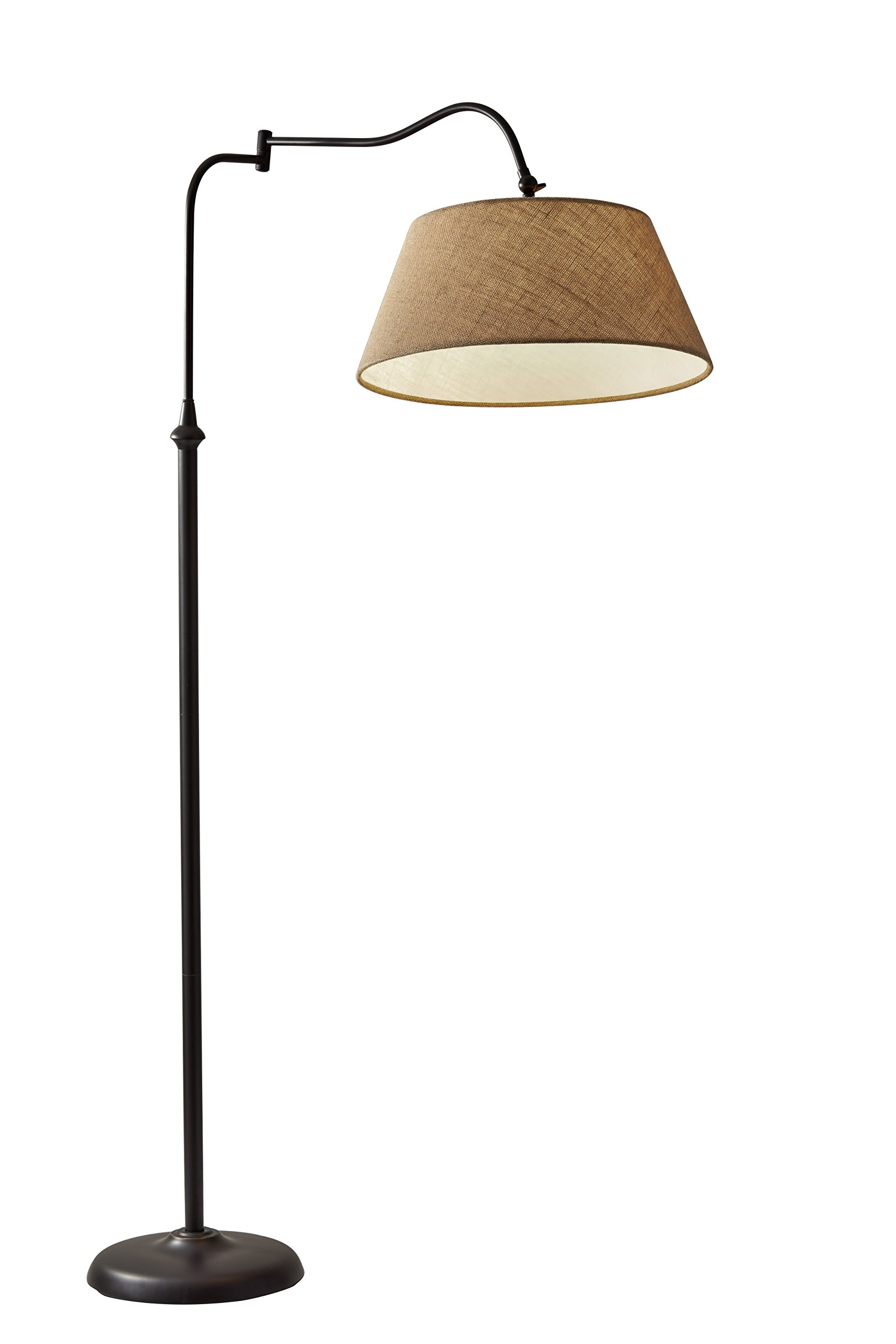 """Adesso 3349-26 Transitional Rodeo, Floor Lamp, 61"""" - The swing arm rotates 180º horizontally and the shades may be adjusted vertically and secured with a locking key joint A textured burlap fabric shade brings warmth to the design Smart Outlet Compatible - living-room-decor, living-room, floor-lamps - 71IjGc HaDL -"""