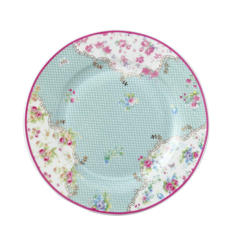 DAYE BOUTIQUE Salad/Dessert/Bread&Butter Plate Set of 2 Royal Fine Bone China, Vintage Floral Plate with Polka Dots, 8-Inch (Blue)