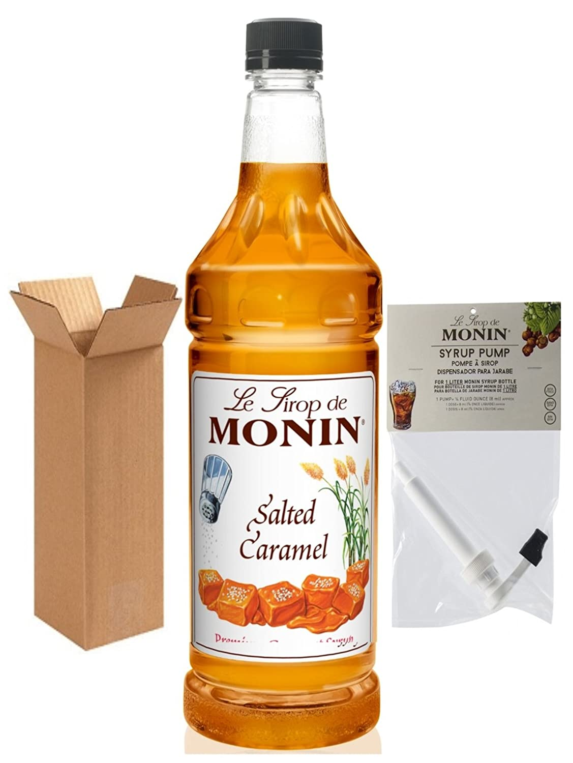 Amazon.com : Monin Salted Caramel Syrup, 33.8-Ounce Plastic Bottle (1 Liter) with Monin BPA Free Pump, Boxed. : Grocery & Gourmet Food