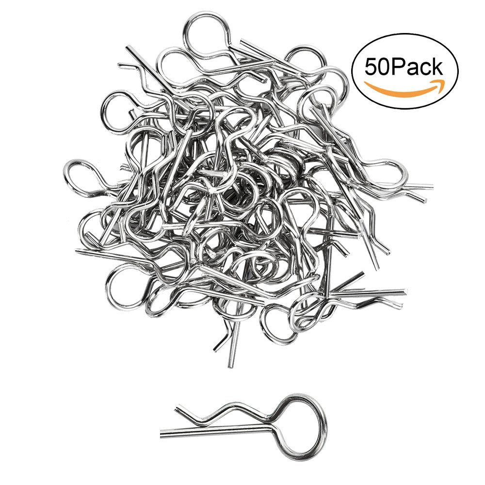 Xpurc 3mm small Bent Body Clips, Springy R-clipsfor 1/16,RC Car Truck Buggy Crawler Replacement Parts 50 Pcs(Metalic)