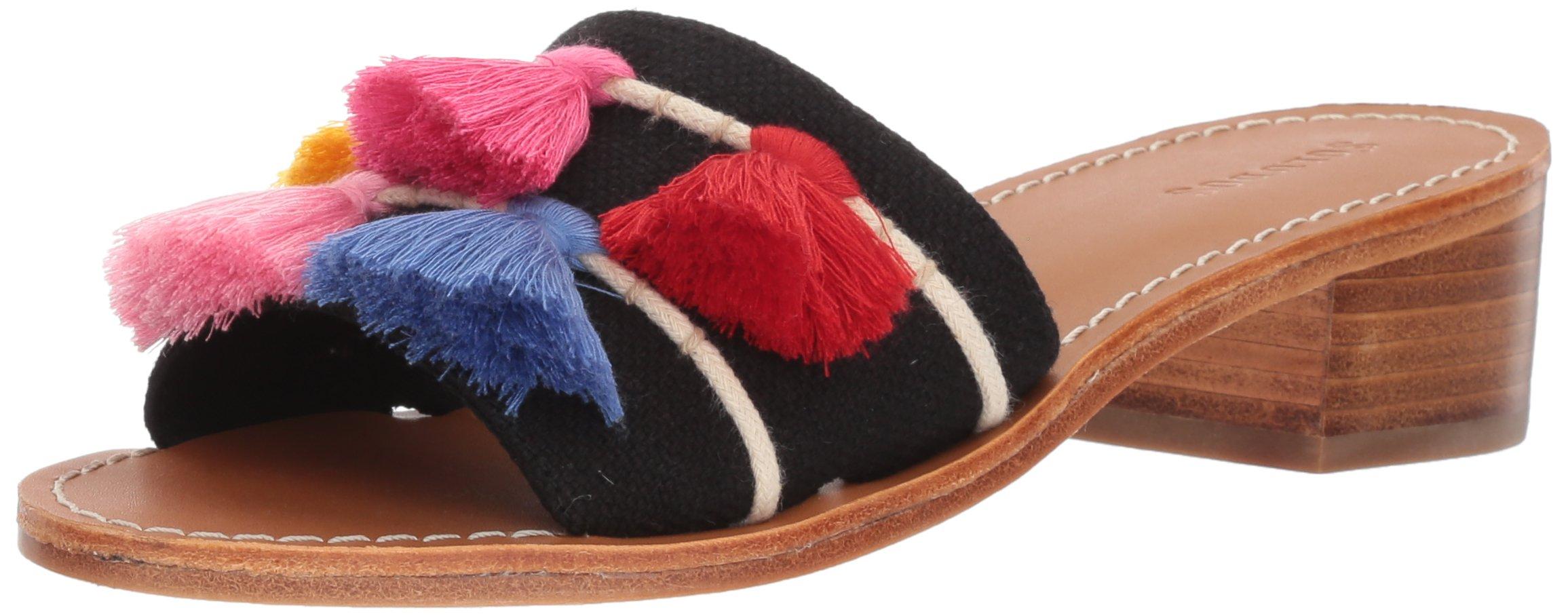 Soludos Women's Tassel City Slide Sandal, Black/Multi, 8.5 B US