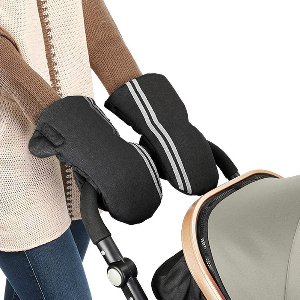 Pram Gloves,Anti-Freeze Waterproof Extra Thick Warm Winter Baby Stroller Glove/Pram Mitten, Pushchair Mittens/Carriage Hand Cover/Hand Muff for All Stroller and Buggy Rundaotong-US