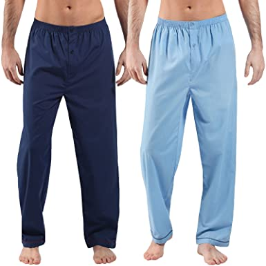 2 Pack Mens 100/% Cotton Woven Pyjama Bottoms Button Check Lounge Pants Nightwear