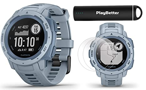 Garmin Instinct (Seafoam) Outdoor GPS Watch Power Bundle | with HD Screen  Protector Film Pack & PlayBetter Portable Charger | Rugged, Waterproof |