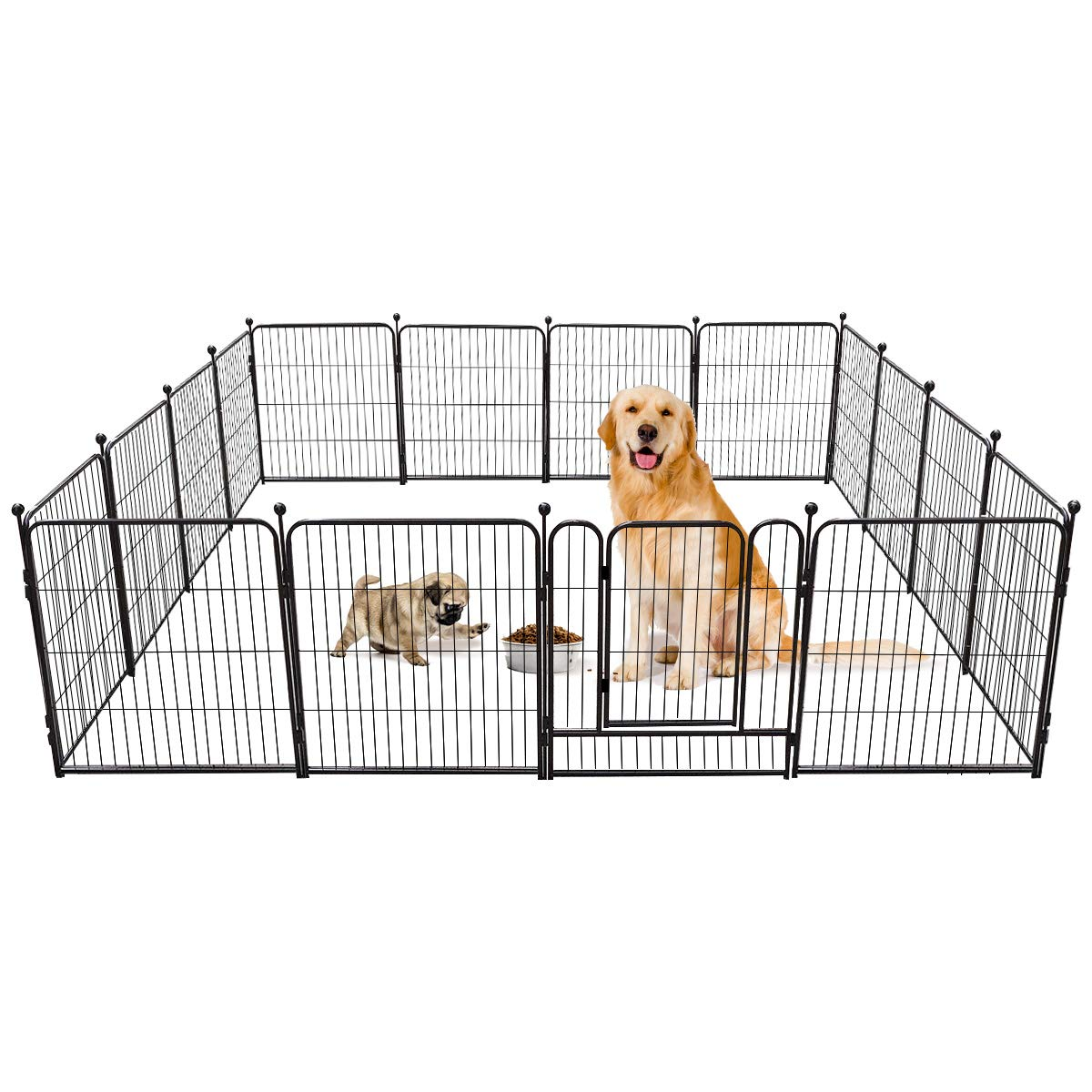 TOOCA Dog Pen RV Dog Fence Playpens for Dogs, 32H x 27L inches, 16 Panels, Metal, Outdoor Indoor, Protect Design Poles, Foldable Barrier with Door, Black by TOOCA