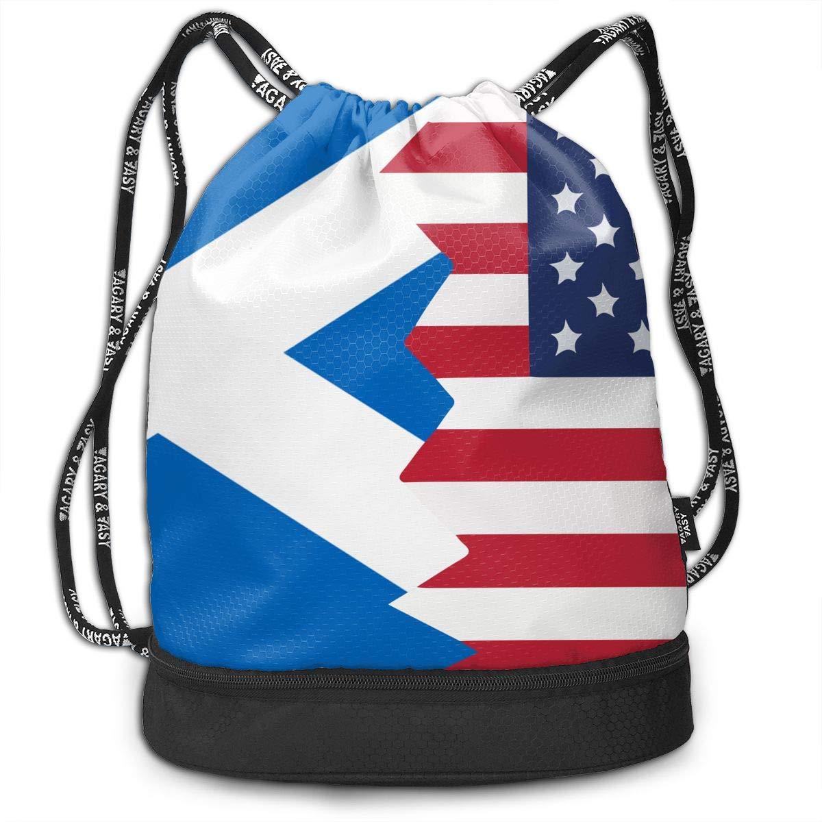 Scotland USA Flag Drawstring Bag Multifunctional String Backpack Custom Cinch Backpack Rucksack Gym Bag
