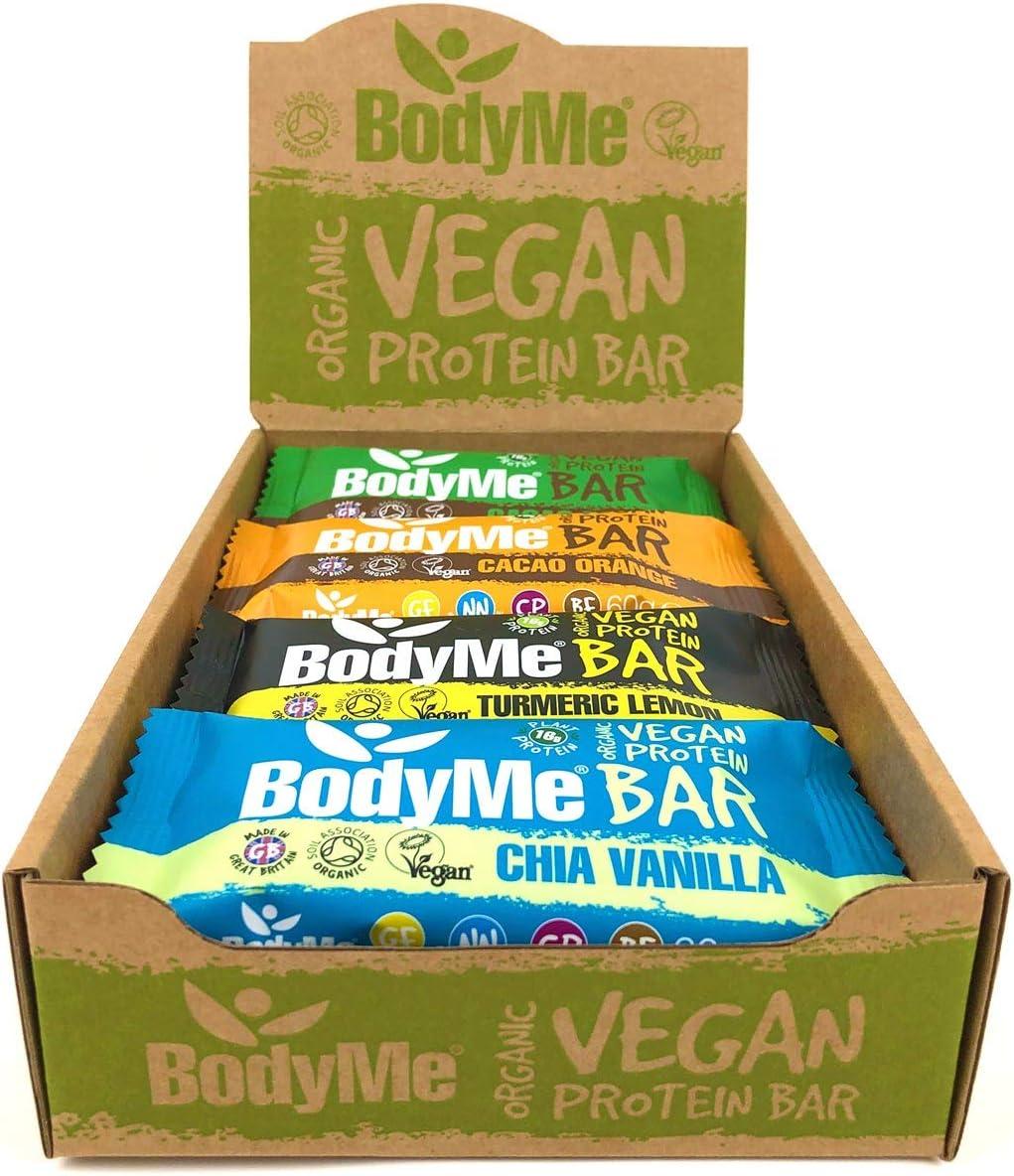 BodyMe Barritas Proteinas Veganas Organica | Caja Mixta | 12 x 60g Barra Proteina Vegana | Sin Gluten | 16g Proteína Completa | 3 Proteina Vegetal | ...