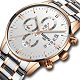 NIBOSI Men's Watches Luxury Sports Chronograph Waterproof Military Quartz Stainless Steel Wristwatches Rose Gold Color